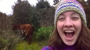Selfie with one of many free-roaming cows on the way to the beach