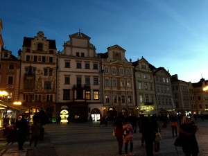 Beautiful dusk facades in Old Town Square, Prague!