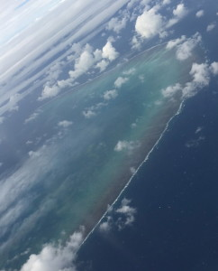 Aerial view of the Great Barrier Reef from plane